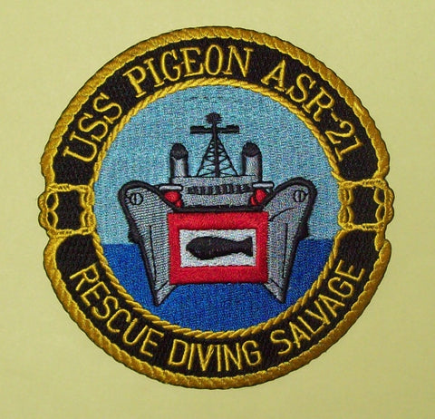 ASR-21 USS Pigeon Submarine Rescue Ship Military Patch RESCUE DIVING SALVAGE