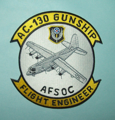 USAF AIR FORCE AC-130 GUNSHIP, FLIGHT ENGINEER, AFSOC MILITARY PATCH