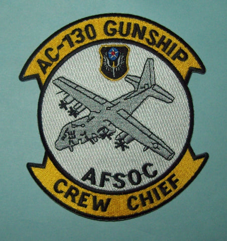 USAF AIR FORCE AC-130 GUNSHIP, CREW CHIEF, AFSOC MILITARY PATCH