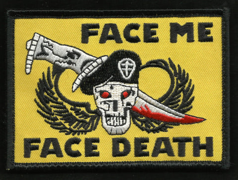FACE ME FACE DEATH SKULL DAGGER WINGS MILITARY PATCH
