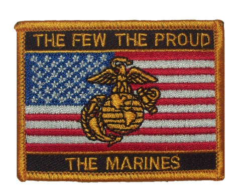 THE FEW THE PROUD THE MARINES AMERICAN FLAG MILITARY PATCH