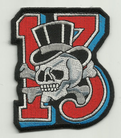 SKULL & CROSSBONES WITH TOPHAT LUCKY 13 PATCH