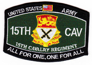 ARMY 15th CAVALRY REGIMENT MOS MILITARY PATCH - ALL FOR ONE, ONE FOR ALL