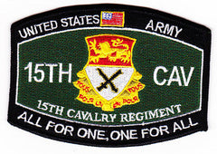 15th CAVALRY REGIMENT ARMY PATCH - ALL FOR ONE, ONE FOR ALL