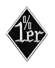 1%er One Percenter White Diamond Embroidered Patch