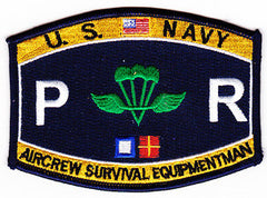 US NAVY Aircrew Survival Equipmentman Parachute Rigger Rating Military Patch PR