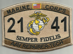 "USMC ""AAV REPAIRER-TECH"" 2141 MOS MILITARY PATCH DESERT"