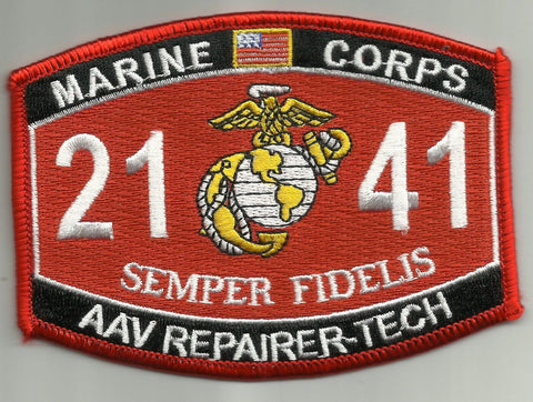 "2141 USMC ""AAV REPAIRER-TECH"" MOS MILITARY PATCH"