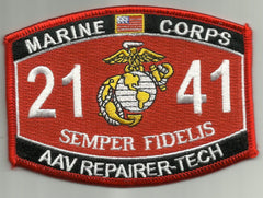 "USMC ""AAV REPAIRER-TECH"" 2141 MOS MILITARY PATCH"
