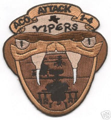 A CO 1-4 VIPERS Military Patch Army Aviation Insignia Snake Bite 1st Battalion 4th Aviation Attack Regiment