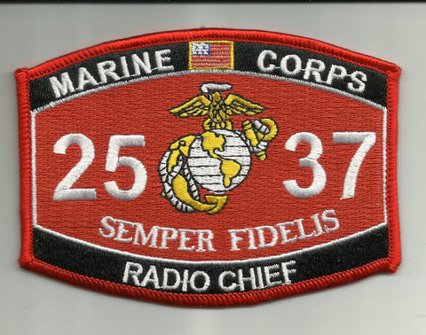"2537 USMC ""RADIO CHIEF"" MOS MILITARY PATCH"