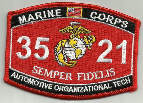 "3521 USMC ""AUTOMOTIVE ORGANIZATIONAL TECH"" MOS MILITARY PATCH"