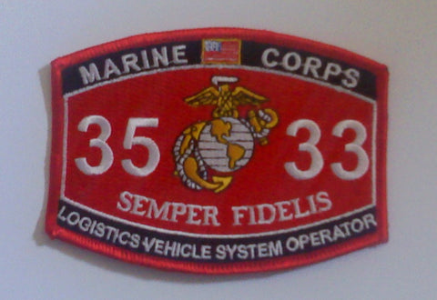 "USMC ""LOGISTICS VEHICLE SYSTEM OPERATOR"" 3533 MOS MILITARY PATCH"