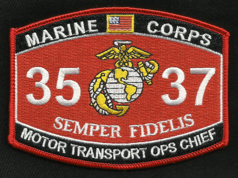 "3537 USMC ""MOTOR TRANSPORT OPS CHIEF"" MOS MILITARY PATCH"