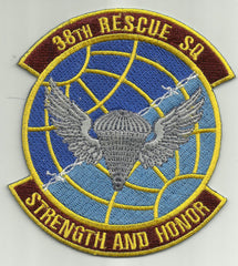 USAF - 38th RESCUE SQUADRON MILITARY PATCH STRENGTH AND HONOR 38th RSQ
