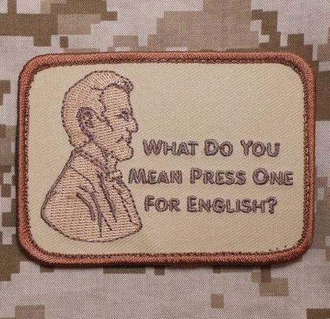 PRESS ONE FOR ENGLISH? DESERT HOOK BACKING PATCH