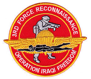 Marine Corps 3RD FORCE RECONNAISSANCE Military Patch OPERATION IRAQI FREEDOM