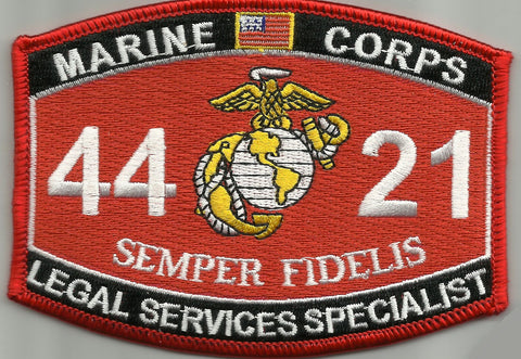 "4421 USMC ""LEGAL SERVICES SPECIALIST"" MOS MILITARY PATCH SEMPER FIDELIS"