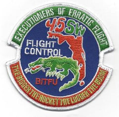 45th Space Wing USAF Military Patch EXECUTIONERS OF ERRATIC FLIGHT