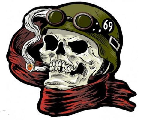 69 HELMET DEATH SKULL Motorcycle MC CLub LARGE Back Patch
