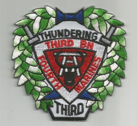 USMC 4th MARINE 3rd BATTALION MILITARY PATCH - THUNDERING THIRD