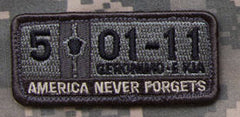 5-01-11 AMERICA NEVER FORGETS TACTICAL COMBAT VELCRO MORALE PATCH - ACU