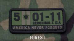 5-01-11 AMERICA NEVER FORGETS TACTICAL COMBAT PVC HOOK MORALE PATCH - FOREST