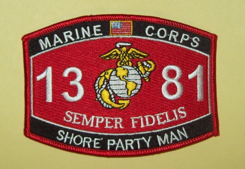 "US MARINE CORPS 1381 ""SHORE PARTY MAN"" MOS MILITARY PATCH"