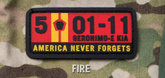 5-01-11 AMERICA NEVER FORGETS TACTICAL COMBAT PVC HOOK MORALE PATCH - FIRE