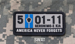 5-01-11 AMERICA NEVER FORGETS TACTICAL COMBAT PVC VELCRO MORALE PATCH - SWAT