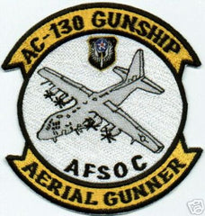 USAF AIR FORCE AC-130 GUNSHIP, AERIAL GUNNER, AFSOC MILITARY PATCH
