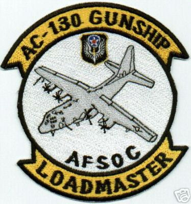 USAF AIR FORCE AC-130 GUNSHIP, LOADMASTER, AFSOC MILITARY PATCH