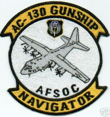 USAF AIR FORCE AC-130 GUNSHIP, NAVIGATOR, AFSOC MILITARY PATCH