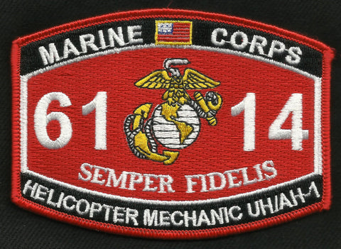 "US MARINE CORPS 6114 ""HELICOPTER MECHANIC UH/AH-1"" MOS MILITARY PATCH"