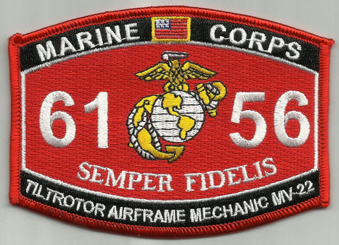 "6156 USMC ""TILTROTOR AIRFRAME MECHANIC MV-22""  MOS MILITARY PATCH"