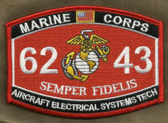 "US MARINE CORPS 6243 ""AIRCRAFT ELECTRICAL SYSTEMS TECH"" MOS MILITARY PATCH"