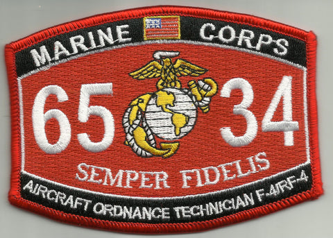 "Marine Corps Military Occupational Specialty 6534 ""Aircraft Ordnance Technician F-4/RF-4"" MOS Military Patch"