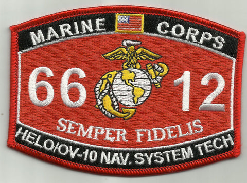 "6612 USMC ""HELO/OV-10 NAV SYS TEC"" MOS MILITARY PATCH"