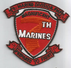 7th MARINES REGIMENT MILITARY PATCH MAGNIFICENT 7th MARINES PREPARED TO FIGHT
