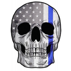 THIN BLUE LINE SKULL Motorcycle Jacket Biker Large Back Patch