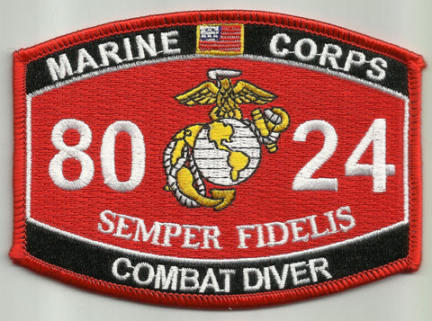 "8024 USMC ""COMBAT DIVER"" MOS MILITARY PATCH"