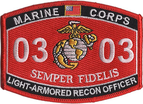 0303 LIGHT ARMORED RECON OFFICER USMC MOS MILITARY PATCH SEMPER FIDELIS