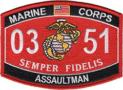 0351 ASSAULTMAN USMC MOS Military Patch SEMPER FIDELIS