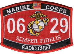 0629 RADIO CHIEF USMC MOS MILITARY PATCH SEMPER FIDELIS
