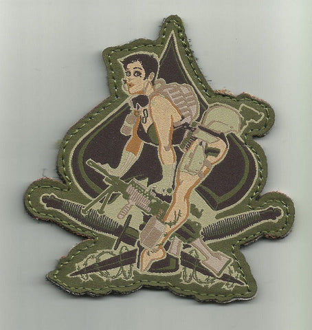 ACES HIGH PIN UP SPADE GIRL MILITARY PATCH