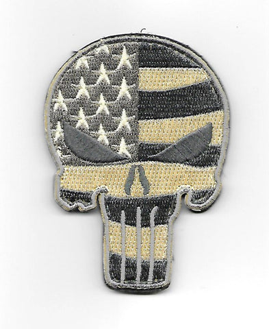 PUNISHER SKULL HOOK & LOOP PATCH - ACU LIGHT FLAG