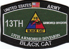 ARMY 13th Armored Division Military Occupational Specialty MOS Military Patch BLACK CAT
