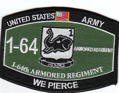 ARMY 1st Battalion 64th Armored Regiment Military Occupational Specialty MOS Military Patch WE PIERCE