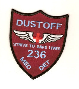 ARMY 236th Aviation Medical Detachment Military Patch STRIVE TO SAVE LIVES DUSTOFF MAROON FIELD