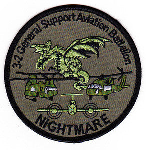 ARMY 3rd Battalion 2nd Aviation Regiment General Support Aviation Battalion Military Patch NIGHTMARE OD